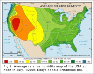 Relative humidity map of the USA